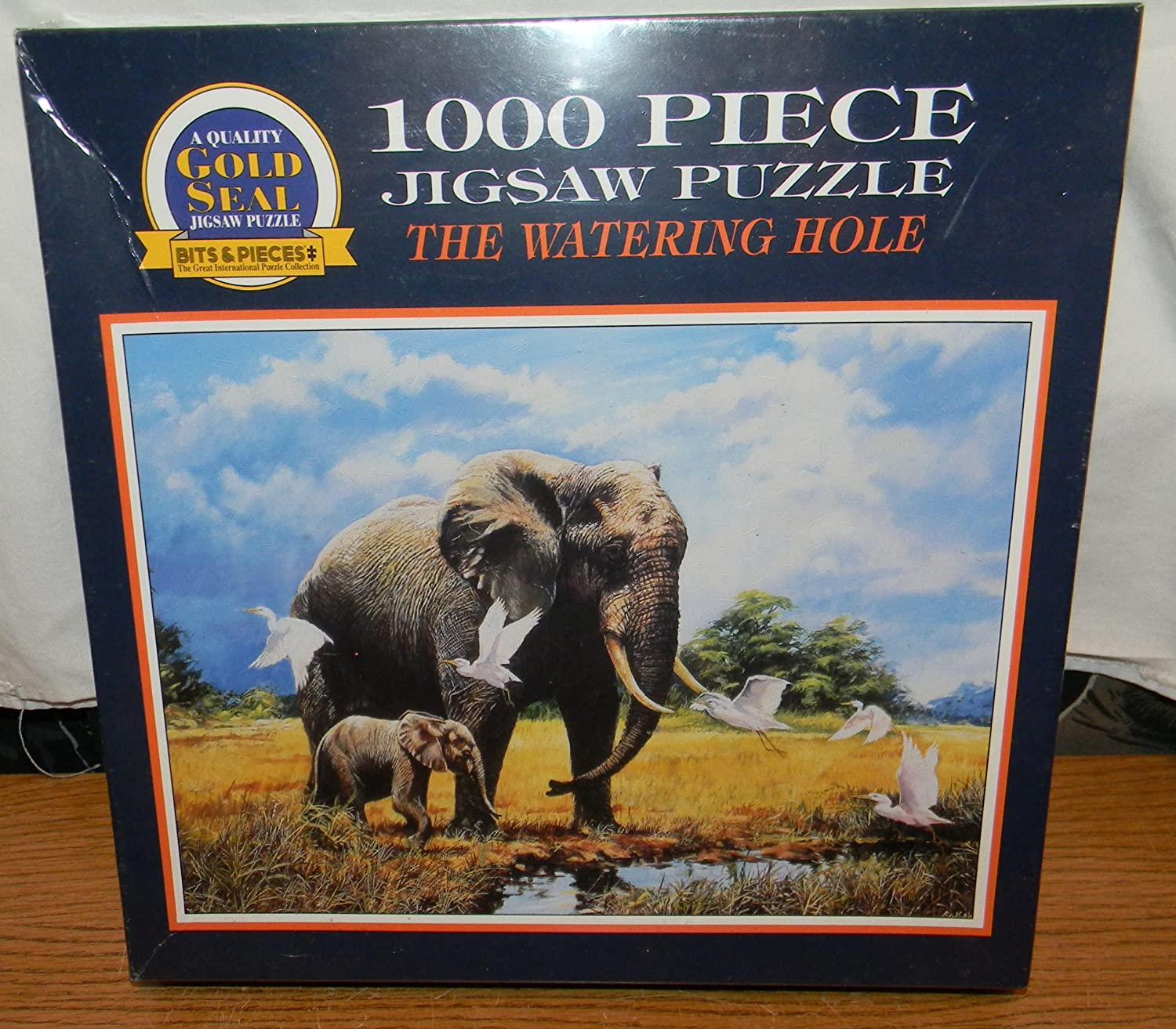 gold seal 1000 piece jigsaw puzzle 20 x 27 inches the watering hole elephant