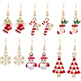 Paxuan Womens Girls Cute 6 Pairs Christmas Drop Dangle Earrings Jewelry Sets for Christmas Womens Girls Kids (6 Pairs)