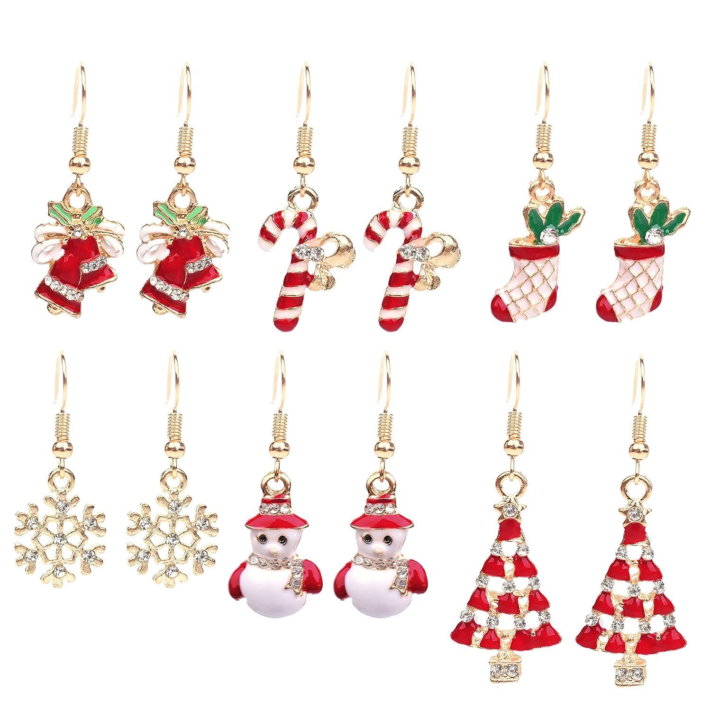 Amazon.com: Paxuan Womens Girls Cute 6 Pairs Christmas Drop Dangle ...