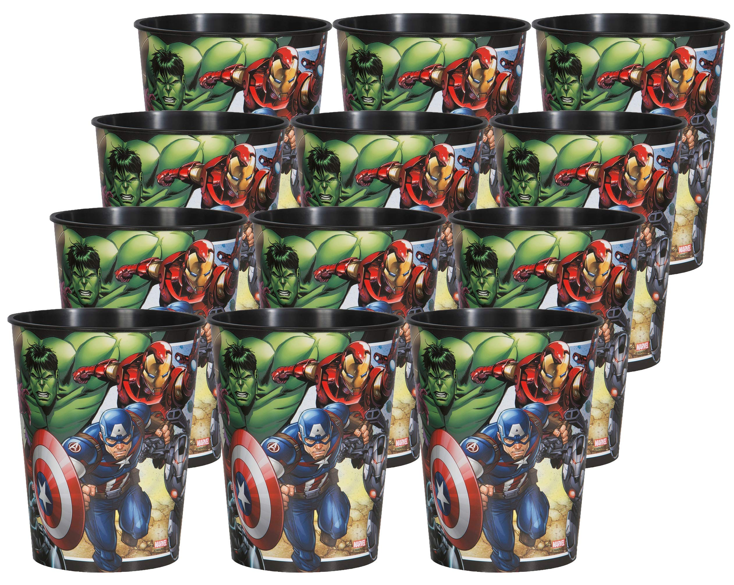 Marvel Avengers Birthday Party Supplies Set of 12 16oz Plastic Reusable Favor Cups