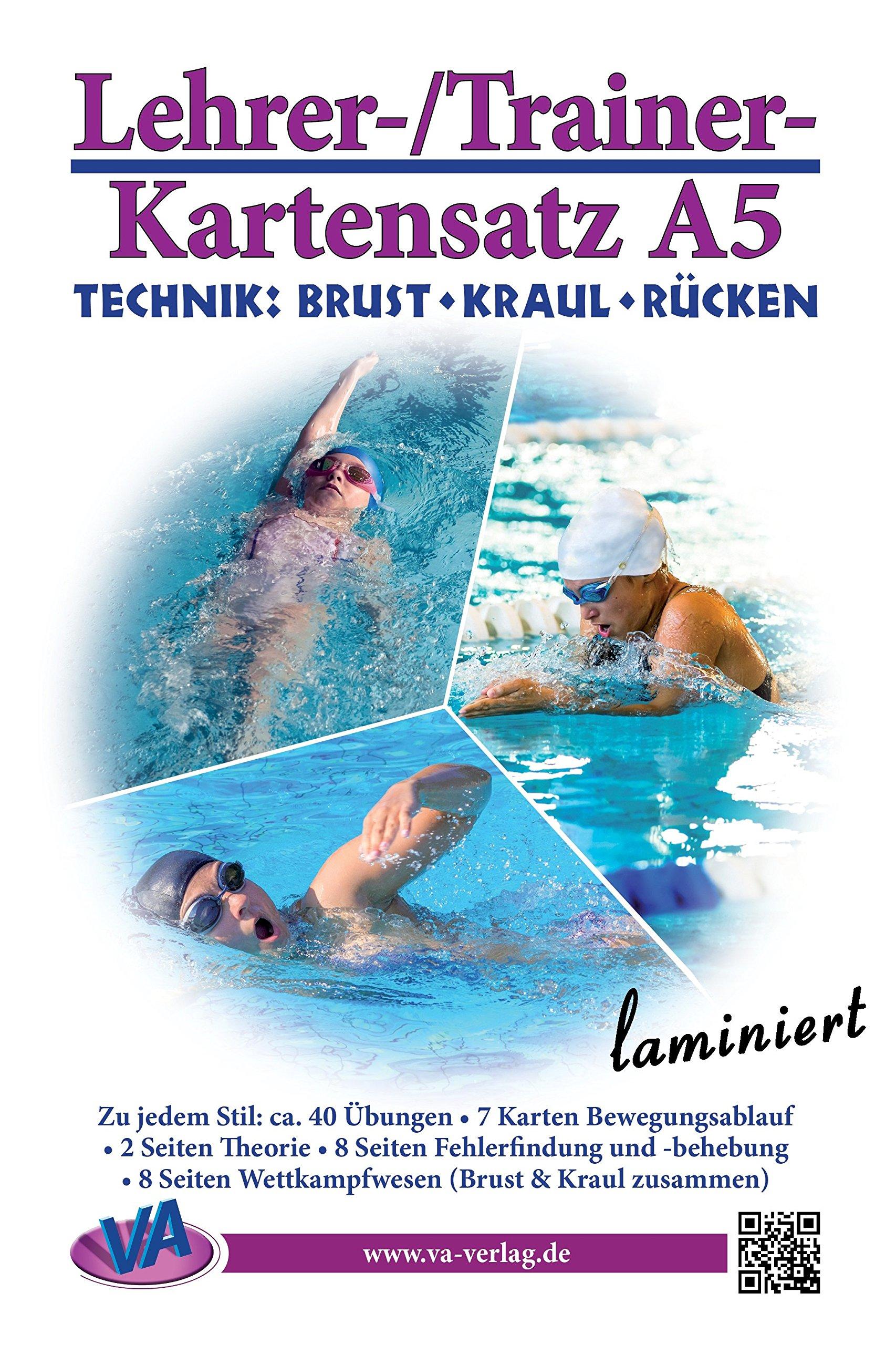 Lehrer-/Trainer-Kartensatz A5: Technik (Brust - Kraul - Rücken), laminiert (Arbeitskarten für den Schwimmunterricht)