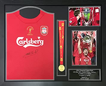 fc8915adf Steven Gerrard signed   framed Liverpool 2005 Champions League Final shirt    medal display with COA