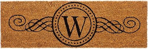 Evergreen Kensington Monogram Natural Coir Interchangeable Switch Mat, Letter W – 28.25 W x 9.25 H