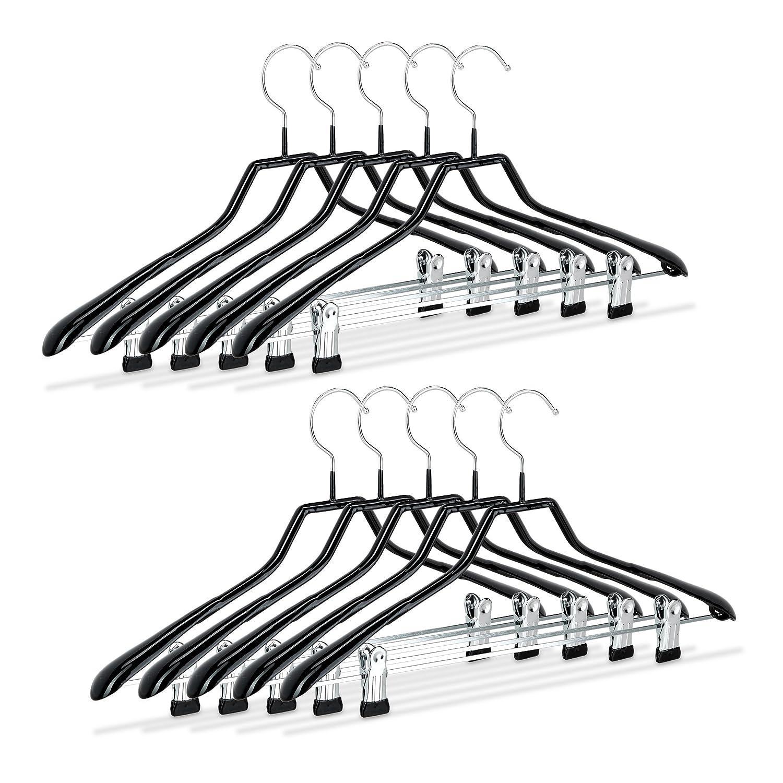 Relaxdays Cintres pour costumes revêtement antidérapant métal 42 cm lot de 10, noir 10021078 cintre-a-jupe cintre-adulte cintre-anti-glisse
