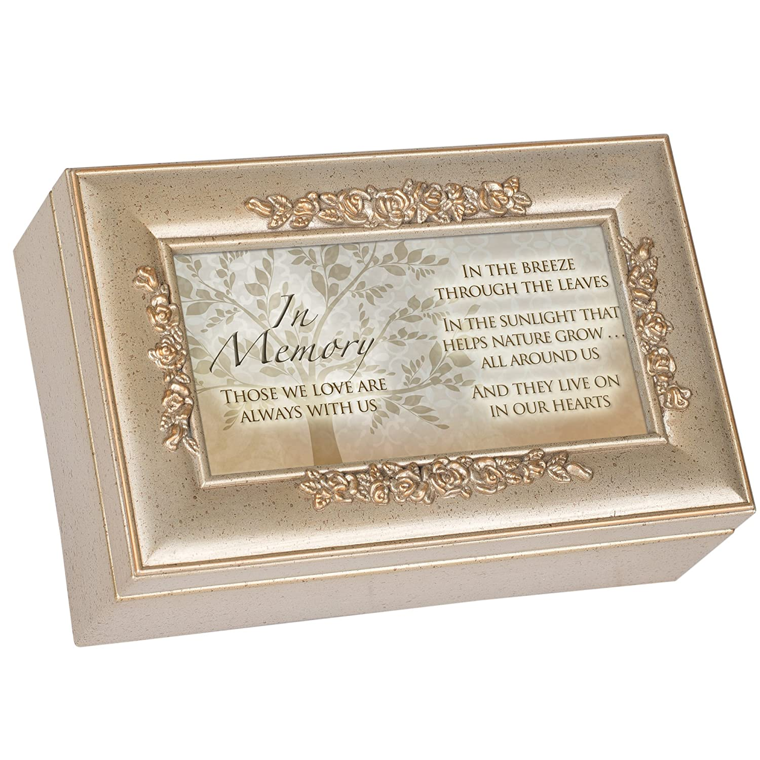 In Memory Bereavement Champagne Silver Inspirational Rose Music Box Plays Amazing Grace Cottage Garden PR115SC