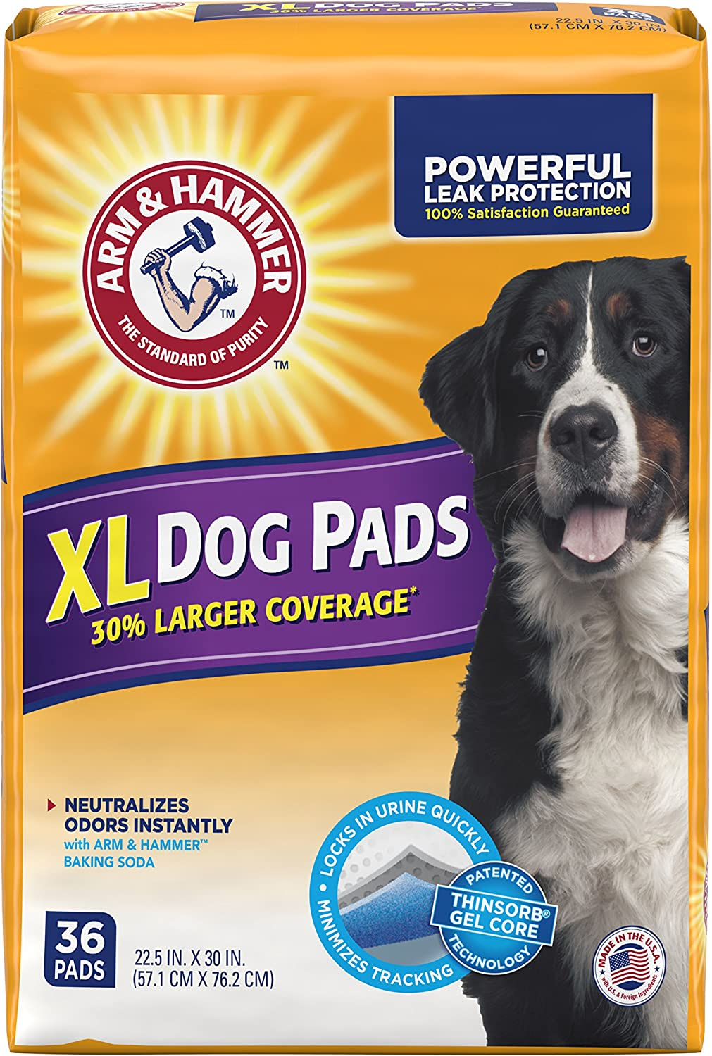 Arm & Hammer Large Pet Training and Puppy Pads 22.5-inch by 30-inch, 36-Count