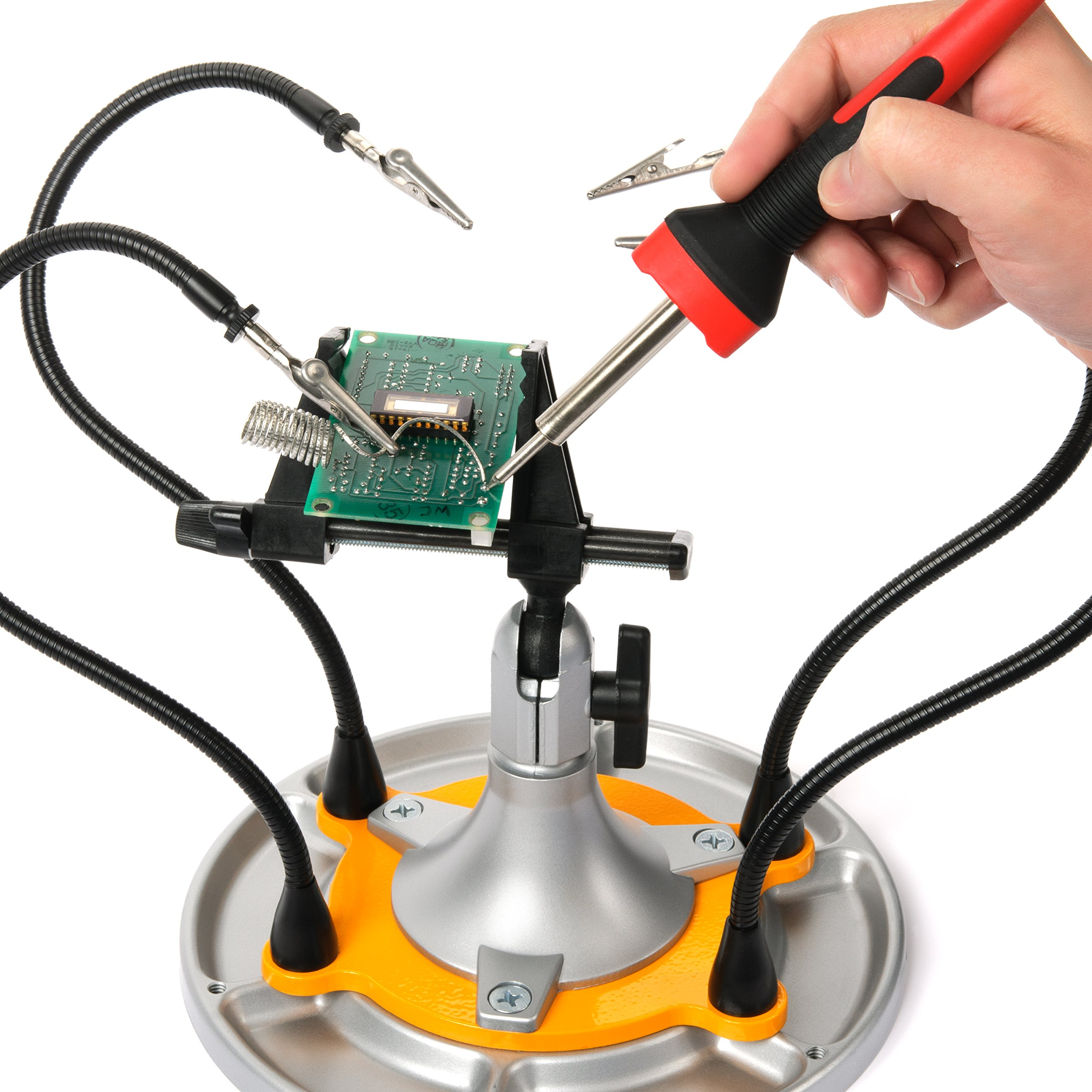 QuadHands Flex Plus - Panavise Third Hand Soldering Tool Add On with Movable & Flexible Steel Gooseneck Arms | 4 Magnetic Arms and Steel Base Plate Integrates Seamlessly with Panavise Work Stations by QuadHands (Image #2)