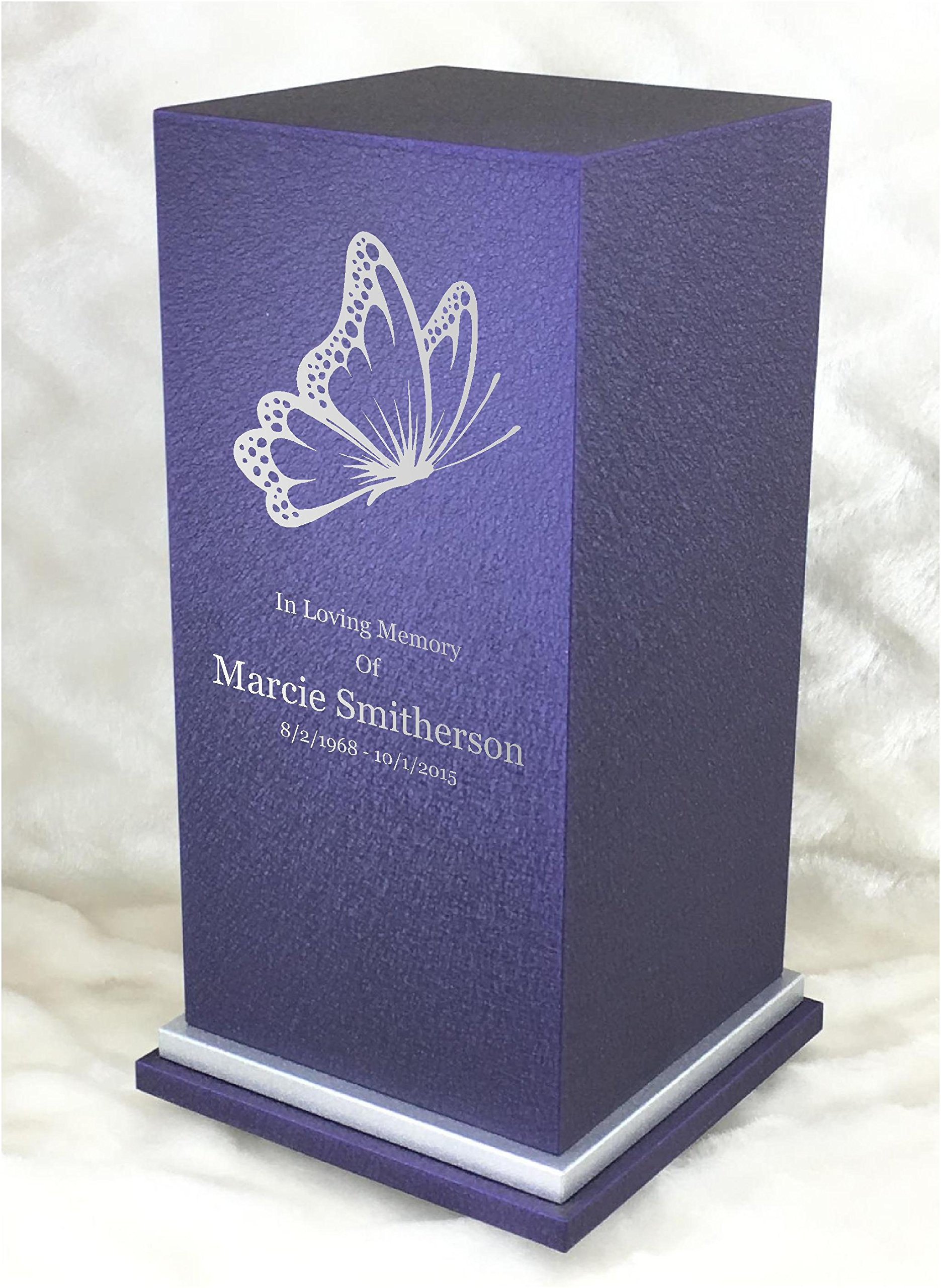 PERSONALIZED Engraved Butterfly Cremation Urn for Human Ashes-Made in America-Handcrafted in the USA by Amaranthine Urns (Adult Funeral Urn up to 200 lbs living weight) Eaton SE- (Purple Velvet) by Amaranthine Urn Company (Image #1)