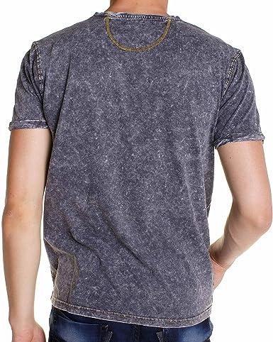 fonçé Vêtements T Jeans boutonné Gris Shirt délavé BLZ qgnfTxq