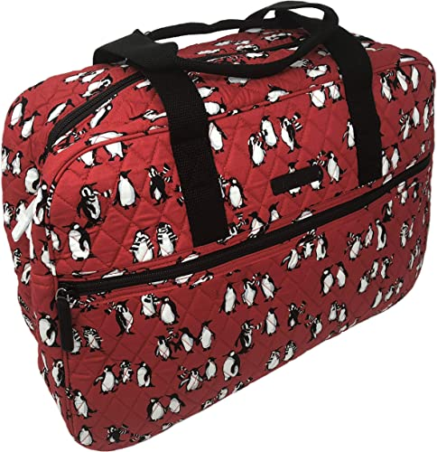 Vera Bradley Medium Traveler Bag in Playful Penguins Red