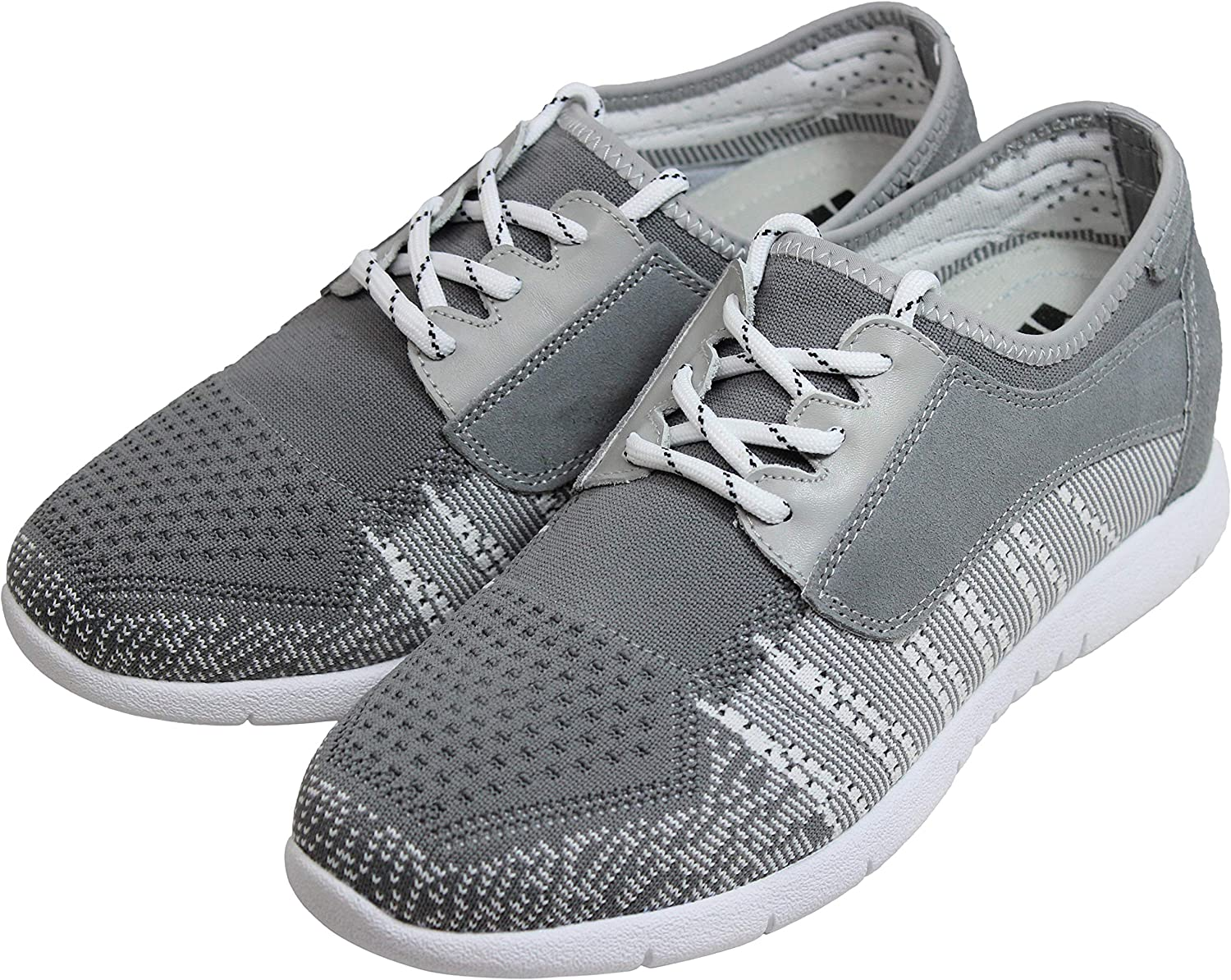 D62108 2.8 Inches Taller Grey//White Knitted//Suede Lace-up Lightweight Trainer Sneakers TOTO Mens Invisible Height Increasing Elevator Shoes
