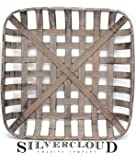 "Silvercloud Trading Co. Tobacco Basket, Farmhouse Decor, Med 21"" Square"