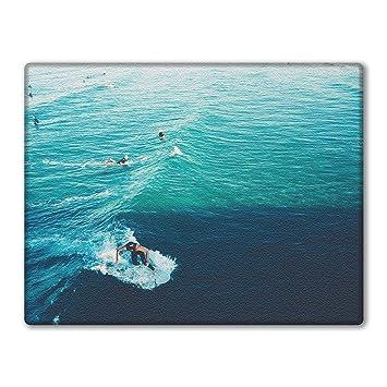 Glas Schneidebrett Arbeitsplatte Saver Surfer und Blau Wellen, glas ...