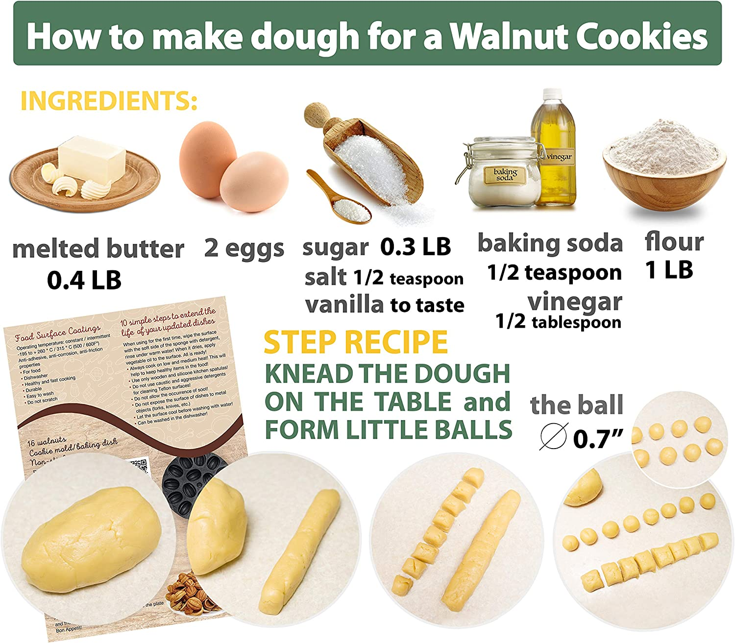 Walnut Cookie Mold Maker 16 halves Non-stick Cookies Pastry