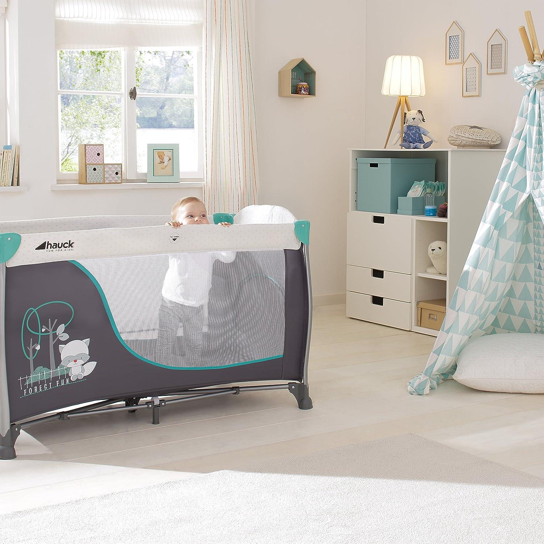 Matratze,Tragetasche Rollen inkl grau Hauck Sleep N Play Center II Reisebett Schlupf Wickelauflage forest fun Neugeborenen-Einhang ab Geburt bis 15 kg Spielzeugtasche