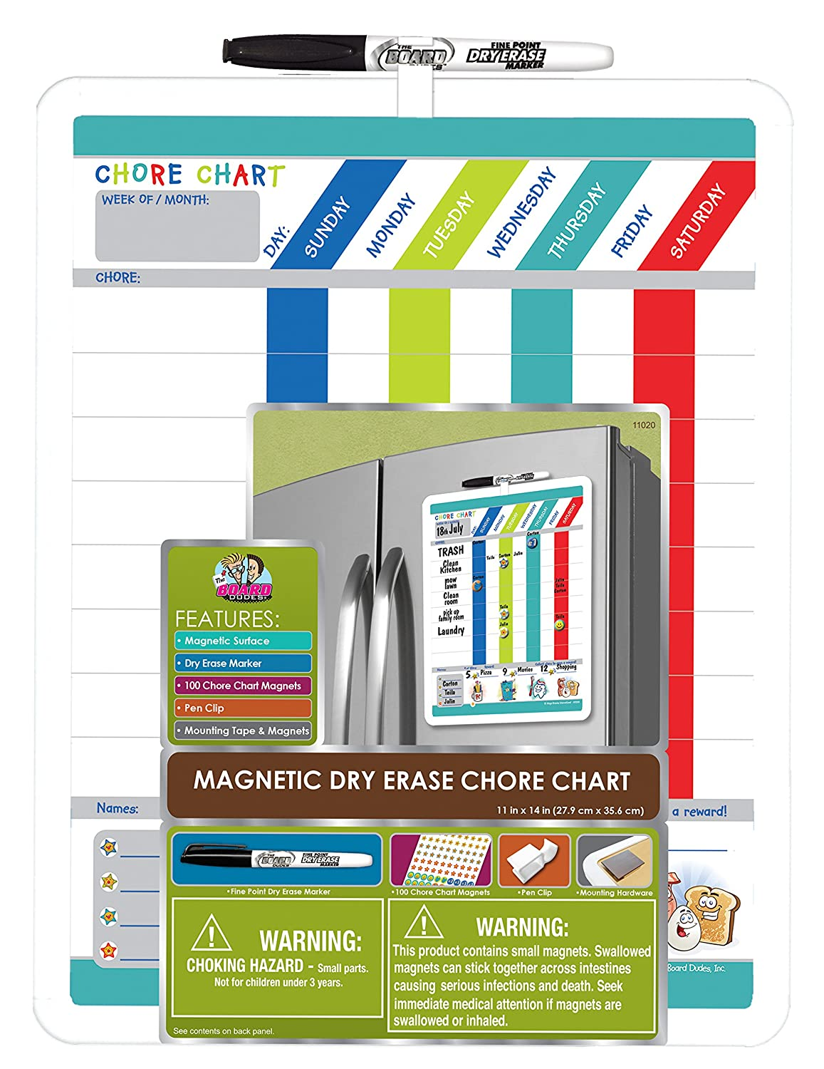 Board Dudes Magnetic Dry Erase Rewards Chore Chart with Marker and Magnets (DFB55)