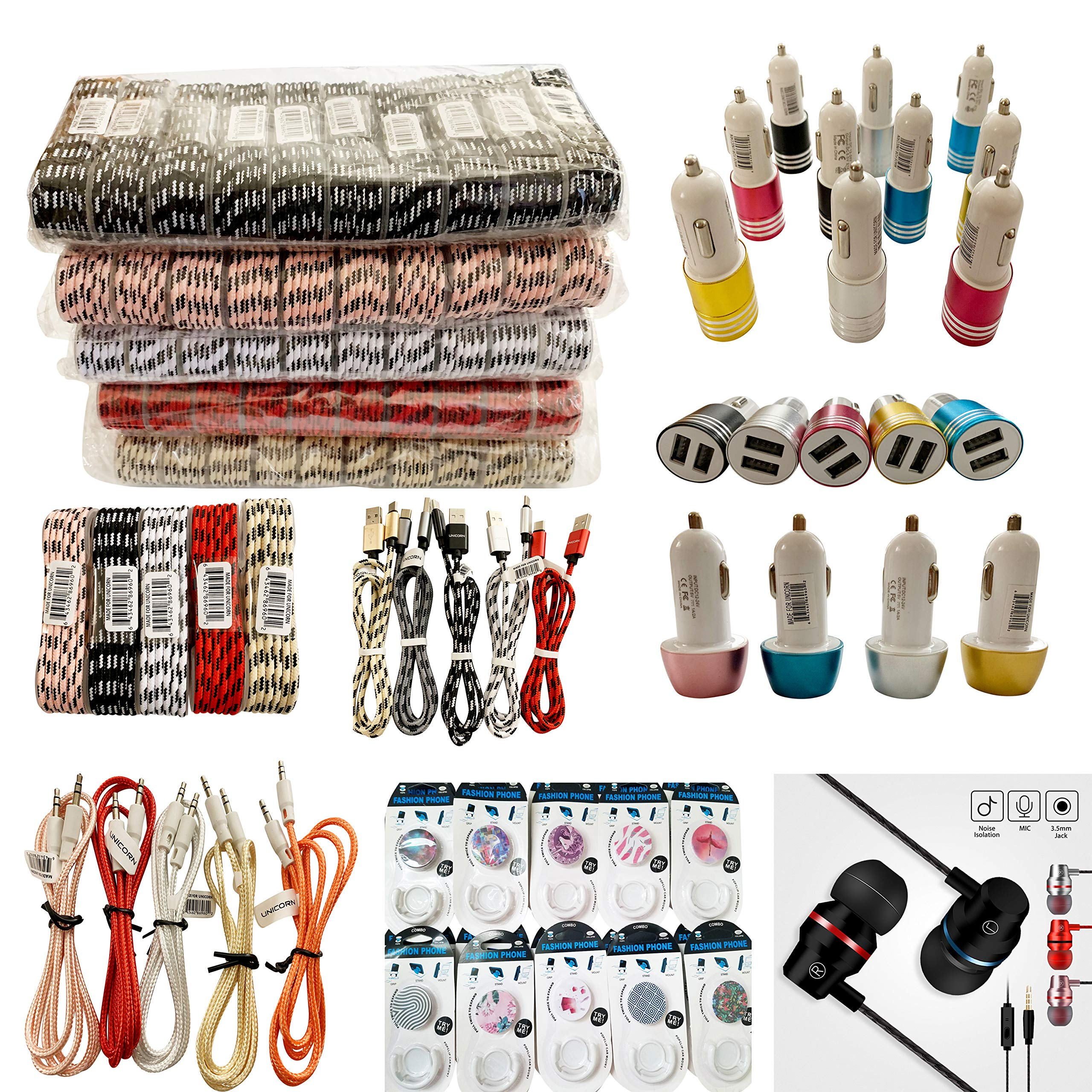 (100-Packs) Unicorn's Premium Cell Phone Accessories Mix Lot (Braided Charging Cables, Car Chargers, Aux Cables, Earphones, Phone Popup Holders) Wholesale Bulk Lot