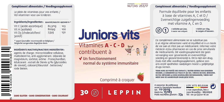 Leppin - Junior Vits 30 comprimés a sucer en sabor fresa - Vitamines a-d-c para niños - Suplemento naturales: Amazon.es: Salud y cuidado personal
