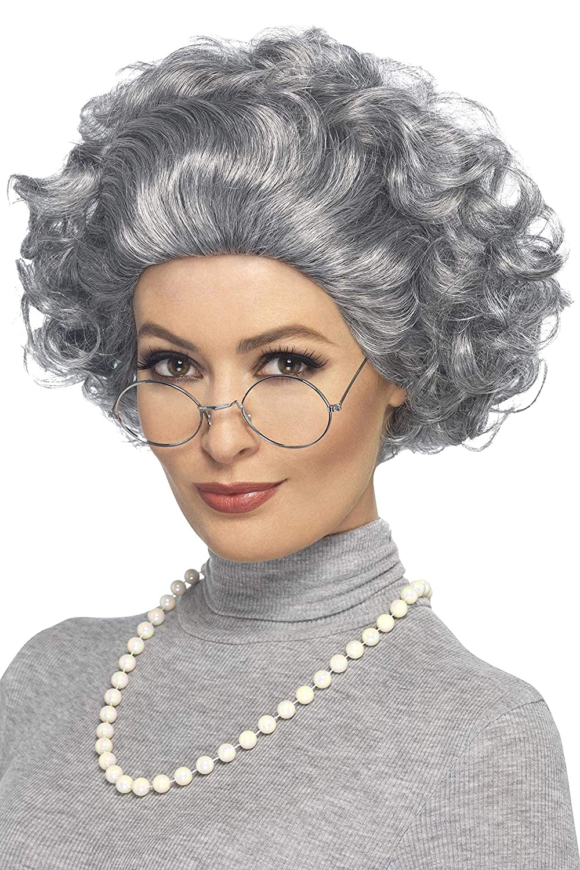 GRANNY OLD LADY WOMAN OAP GRANDMA CURLY GREY WIG /& WALKING STICK FANCY DRESS