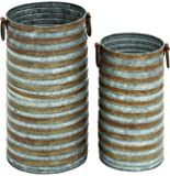 Benzara Cylindrical Shaped Metal Galvanized Planter with Side Handles, Set of 2