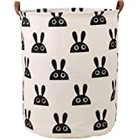 LANGYASHAN Storage Bin,Canvas Fabric Collapsible Organizer Basket for Laundry Hamper,Toy Bins,Gift Baskets, Bedroom, Clothes,Baby Nursery (Bunny)