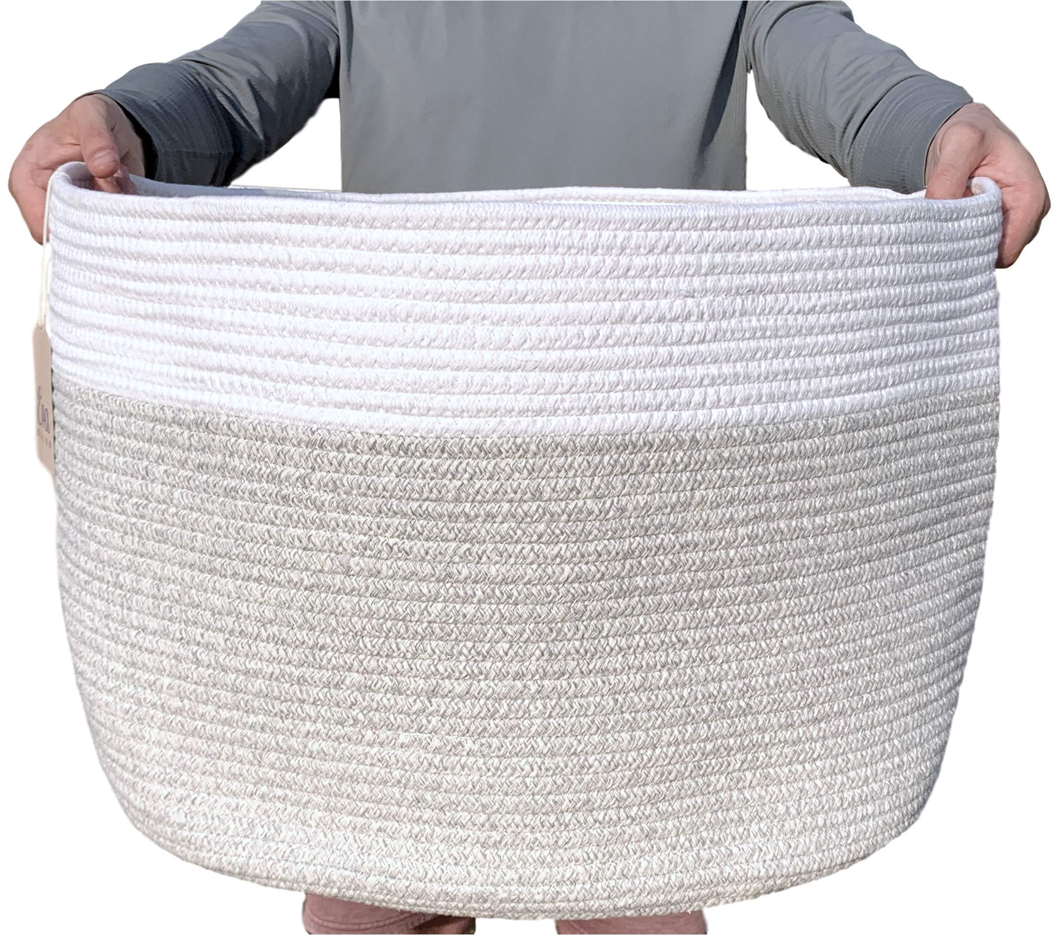 XXXLarge Cotton Rope Basket - 22''x22''x14'' - Woven Hamper Basket with Solid Handles - Use for Towels or Sofa Throws in The Living Room - Ideal for Baby Laundry, Toy Storage & Decorative Blankets