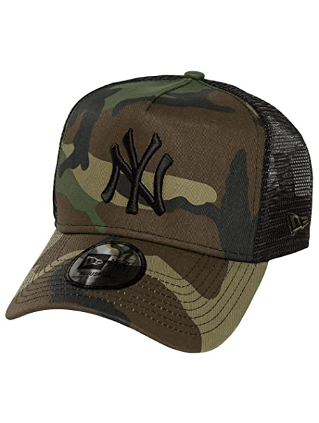 afefe17b2 Woodland Camo/Black New York Yankees Clean A-Frame Trucker Cap by New Era