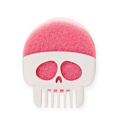 PELEG DESIGN Brain Drain White Skull Sponge Holder for Kitchen, Bath, or Sink That Drains and Dries All Types of Sponges – 1 Sponge Included
