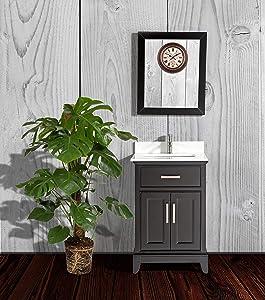 Vanity Art 24-Inch Single Sink Bathroom Vanity Set with White Phoenix Stone Top, Drain and Mirror - Espresso