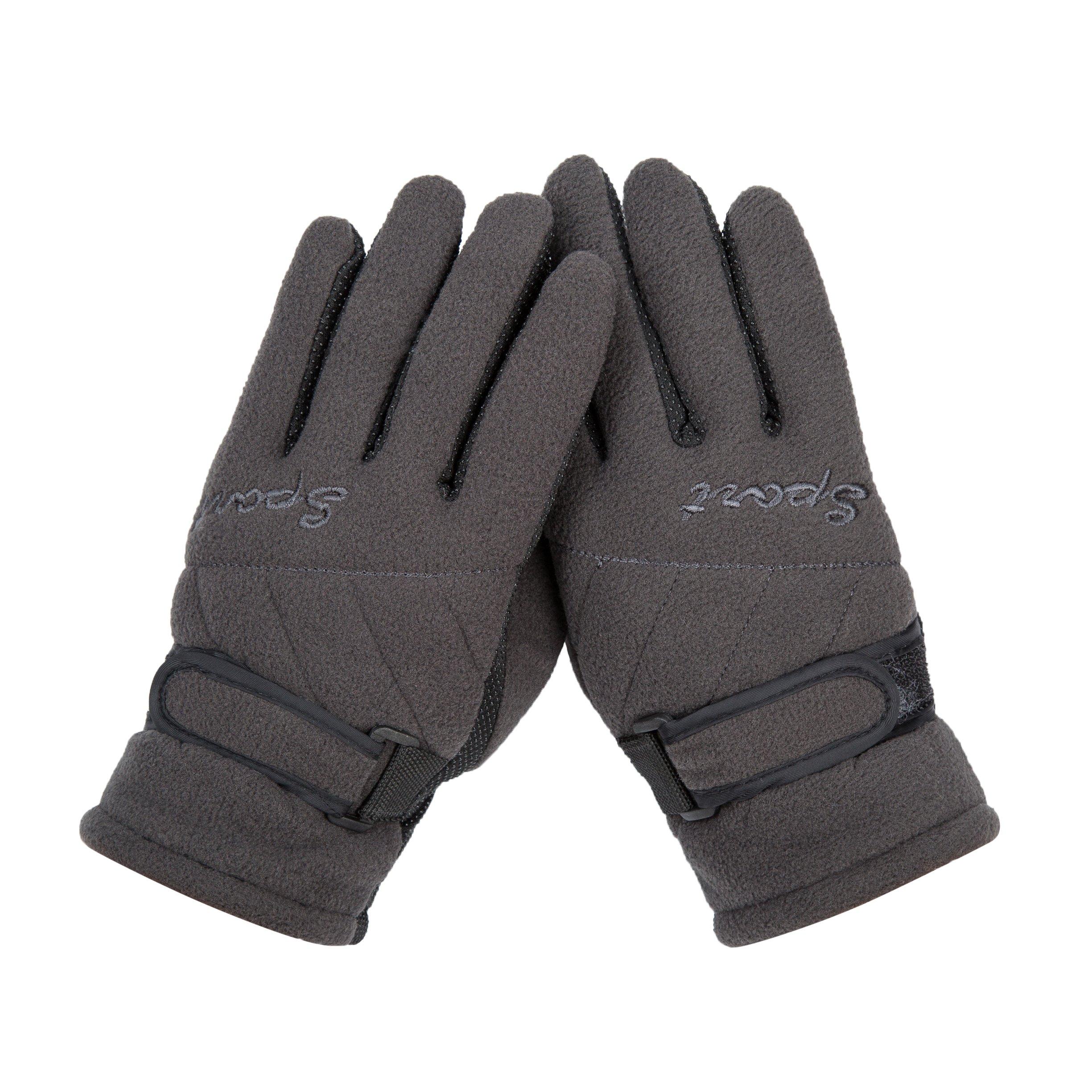 Grey Winter Thinsulate Ski Gloves Anti Slip For teen boy girls