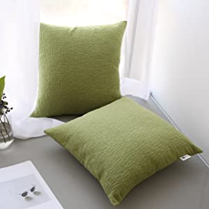 Kevin Textile Decor Velvet Solid Striped Cushion Cover Sham Handmand Decor Pillow Cover Soft Square Throw Fall Pillow Case for Chair, 18x18 inch (45cm),Set of 2,Greenery