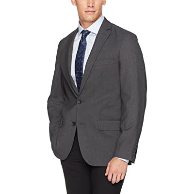 Haggar Men's J.M. 4-Way Stretch Solid 2-Button Slim Fit Suit Separate Coat, Charcoal Heather, 42S at Amazon Men's Clothing store