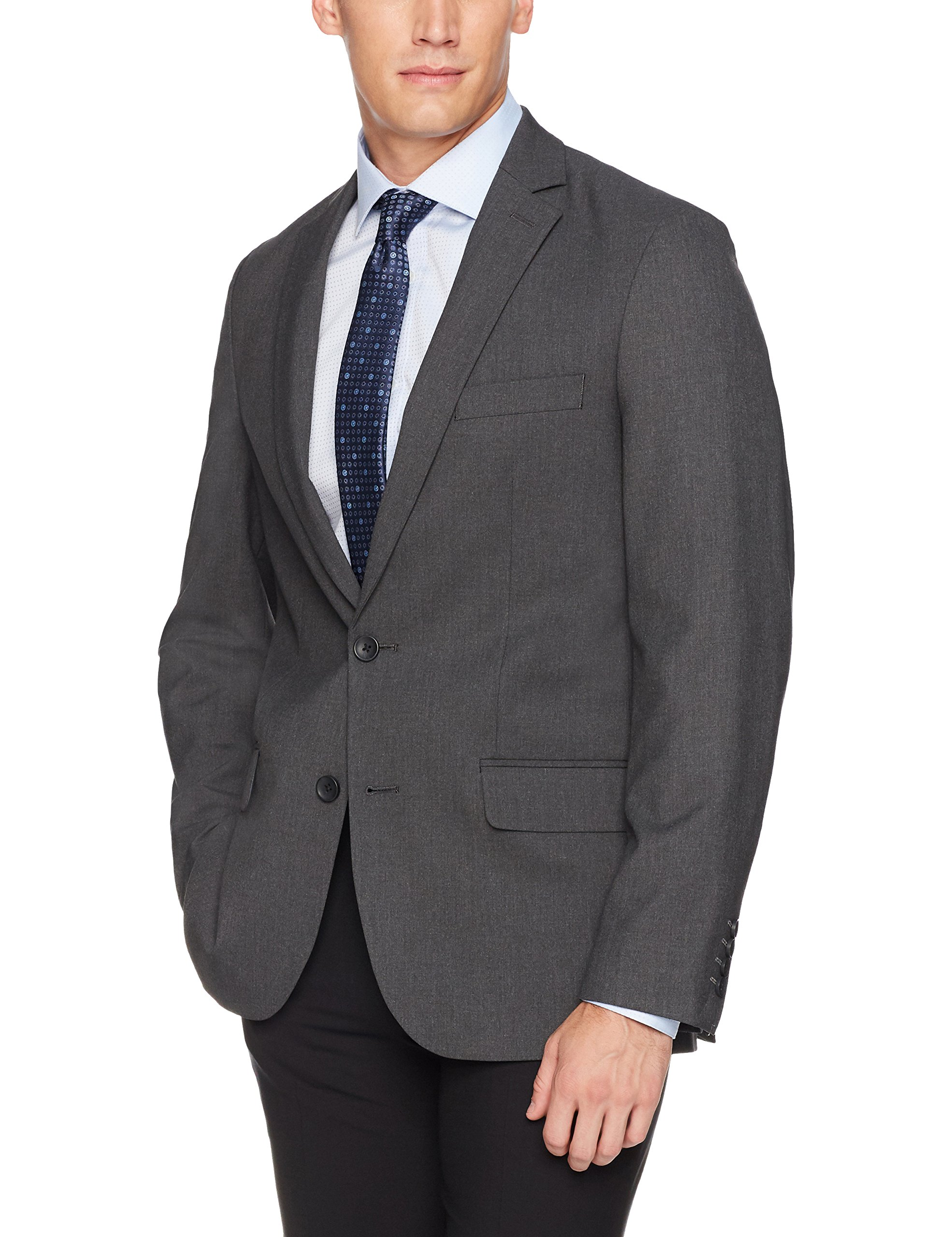 J.M. Haggar 4-Way Stretch Solid 2-Button Slim Fit Suit Separate Coat,  Charcoal Heather,  46R by J.M. Haggar