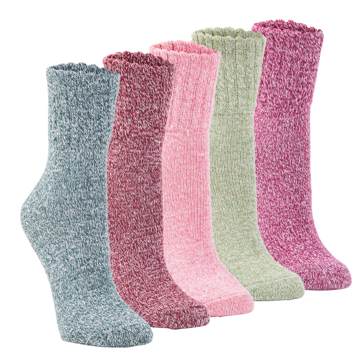 Yannik Women's 5 Pair Pack Vintage Style Cotton Knitting Wool Winter Crew Socks