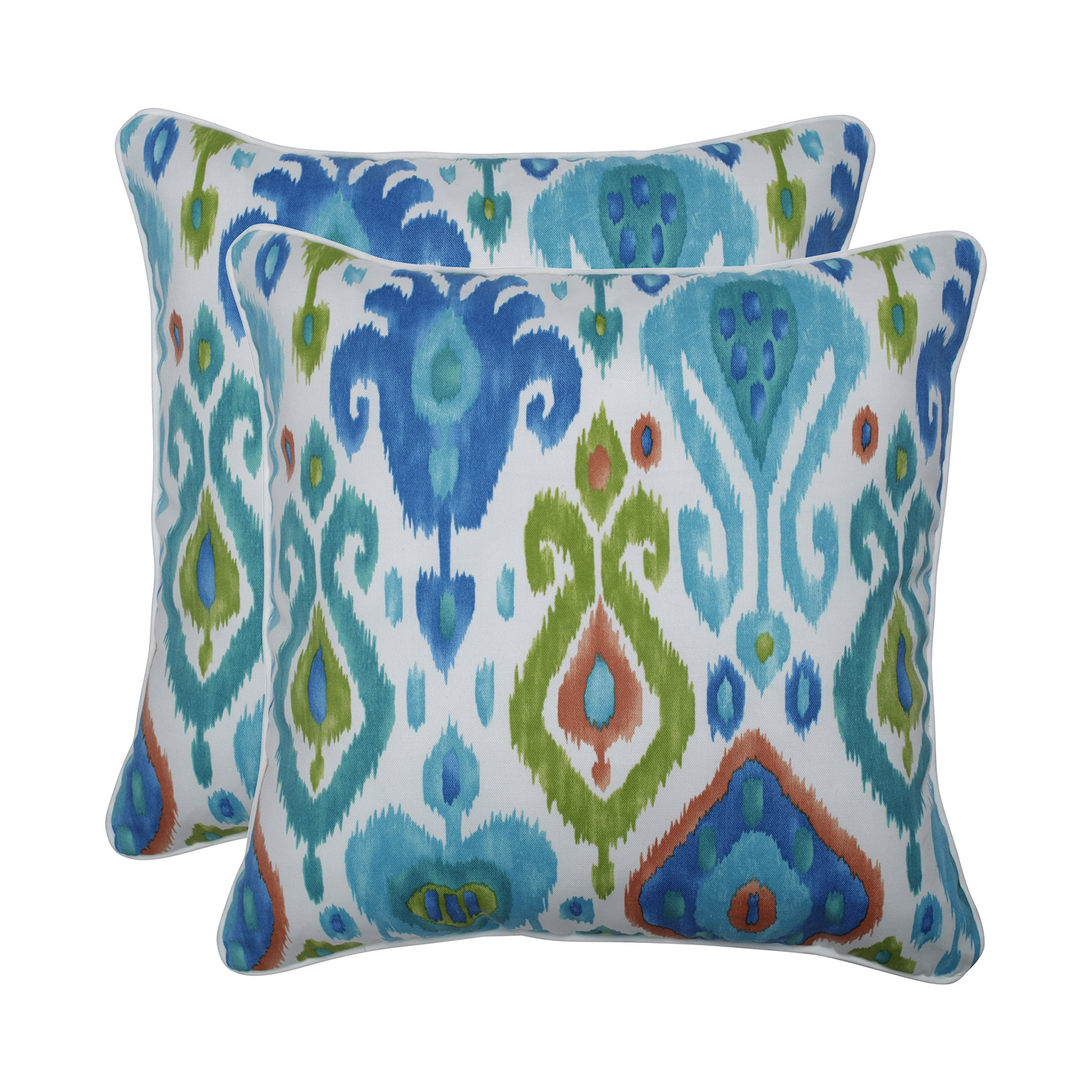 Pillow Perfect Outdoor | Indoor Paso Caribe 18.5-inch Throw Pillow (Set of 2), Blue