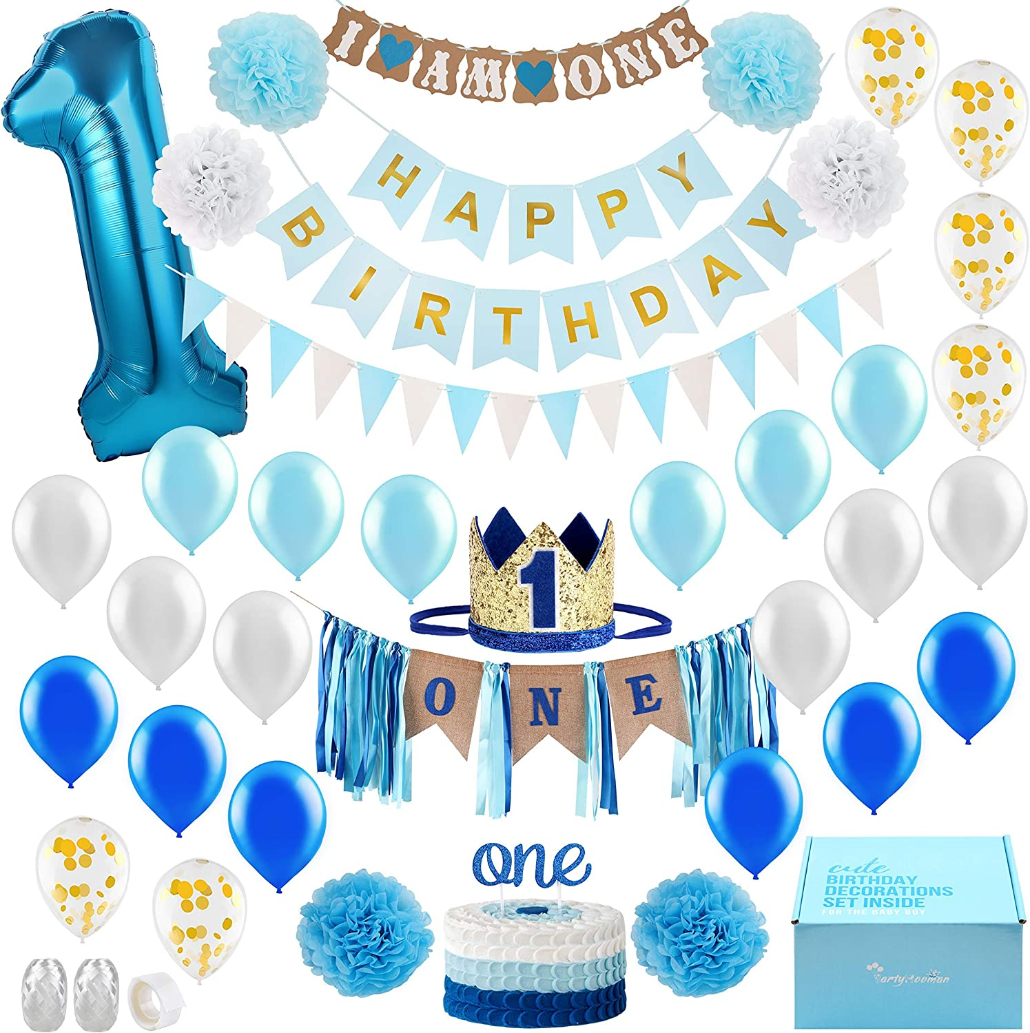 Amazon Com Baby Boy 1st Birthday Decorations With Birthday Crown First Birthday Boy Decorations Cake Smash Party Supplies Happy Birthday And Highchair One Burlap Banner Number One Balloon Cake Topper