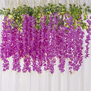 MEHELANY Artificial Wisteria Flower Garland 12Pcs 45Feet Fake Wisteria Flower Vine with Greey Leaves Hanging Silk Flower Garland for Home Decor Wedding Arch Backdrop Decor (Purple, 12) … …