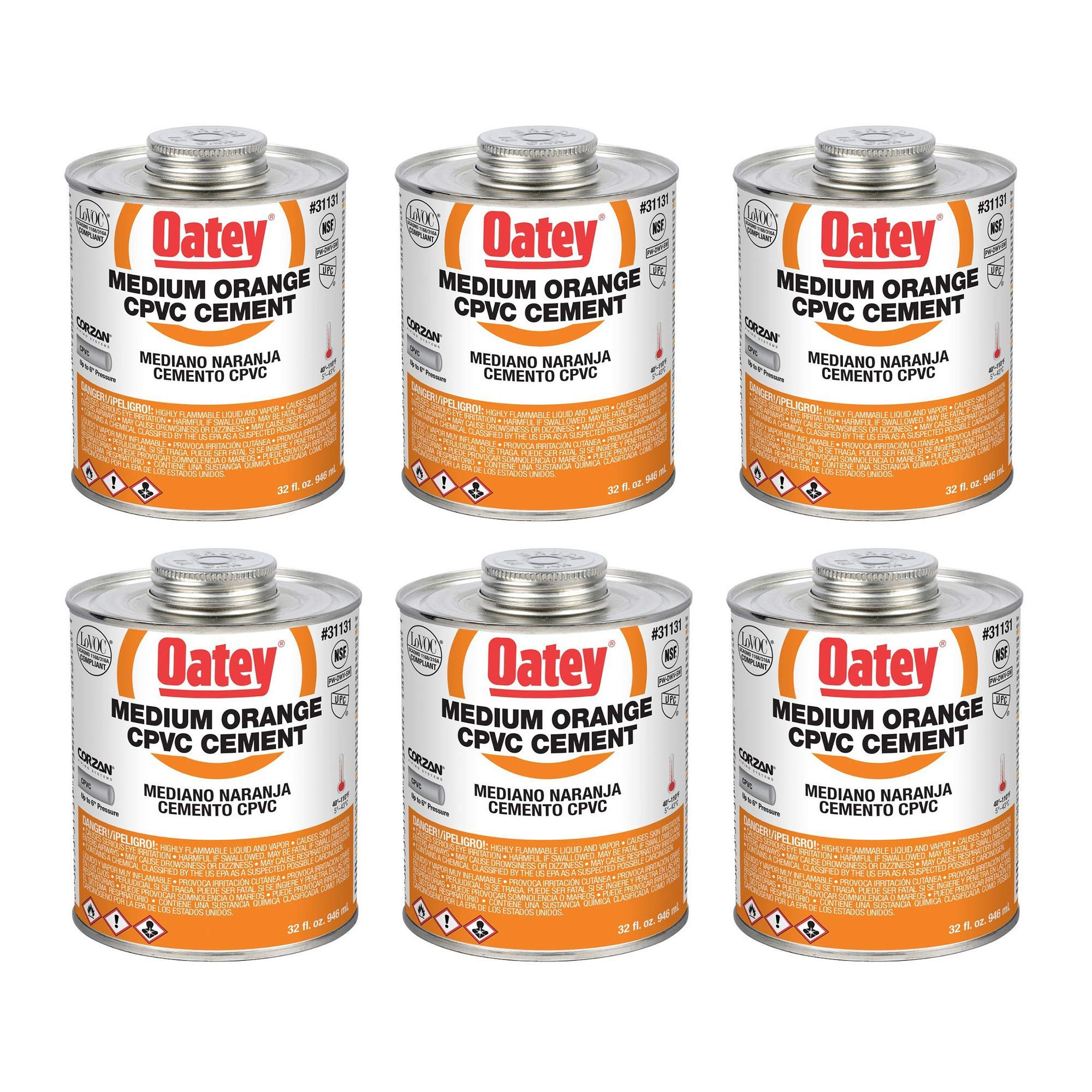 Oatey 31131 32 Oz. CPVC Pipe Hot and Cold Systems Solvent Cement Glue, Orange (6 Pack) by Oatey (Image #1)