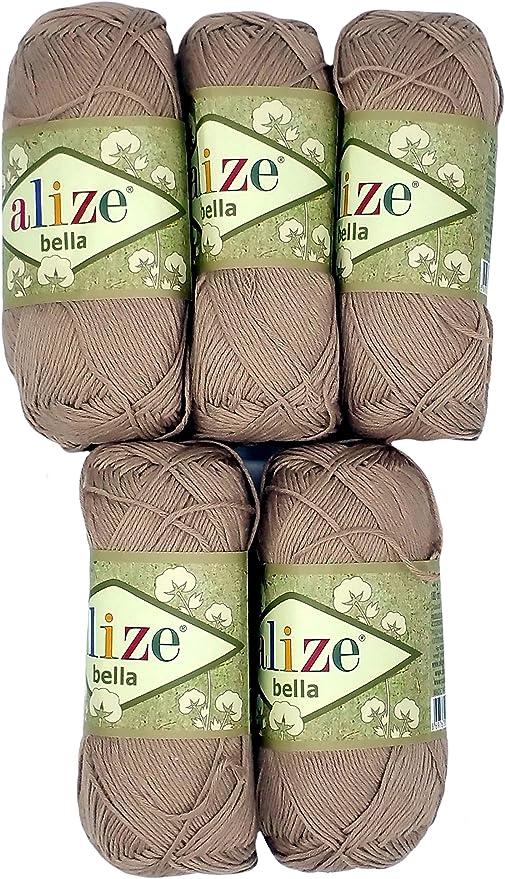 Alize Bella - Ovillo de lana para hacer punto (100 % algodón, 250 g, 5 de 50 g), color liso: Amazon.es: Hogar