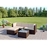 Abreo Rattan Modular Corner Sofa Set Garden Conservatory Furniture 5 To 9 Pcs (Milano, Brown)