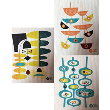 Swedish Dishcloths, Set of 3 Mid-century Modern Designs by Jenn Ski - (Wasabi/Blue Grass/Orange on Natural)