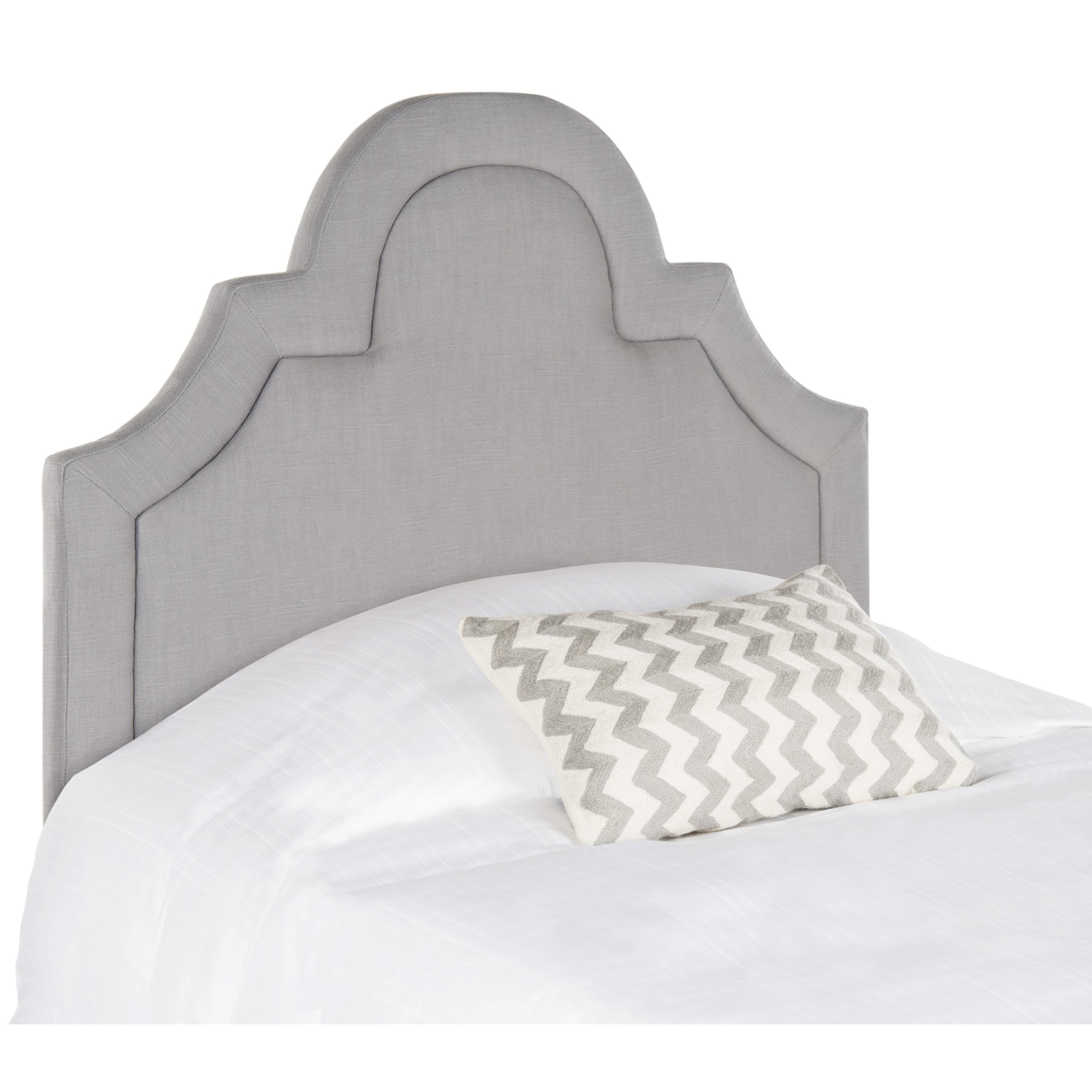 Safavieh Kerstin Arctic Grey Cotton Blend Upholstered Arched Headboard (Twin) by Safavieh (Image #3)