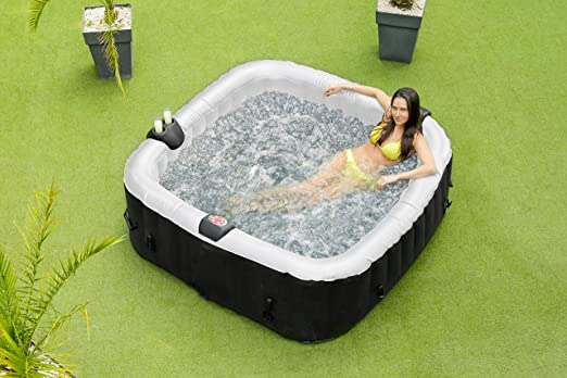 O Spazia Carre Spa Gonflable 6 Places Noir Amazon Fr Jardin