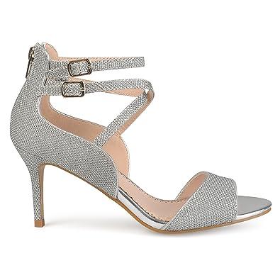 54b17822038d Womens Open-Toe Glitter Strappy Heels Silver