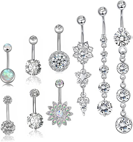 Navel Rings Belly Button Dangle Design Pack Of 10 14G