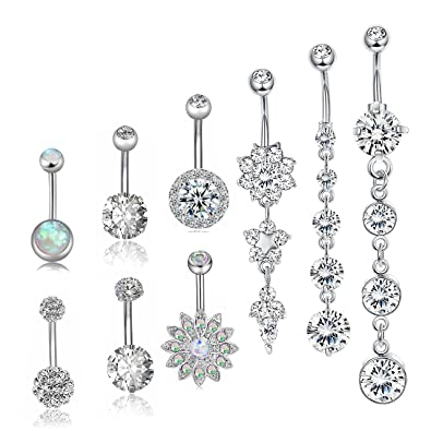 Besteel 10 Pcs Surgical Steel Dangle Belly Button Rings For Women Girls Curved Navel Barbell Body Jewelry Piercing