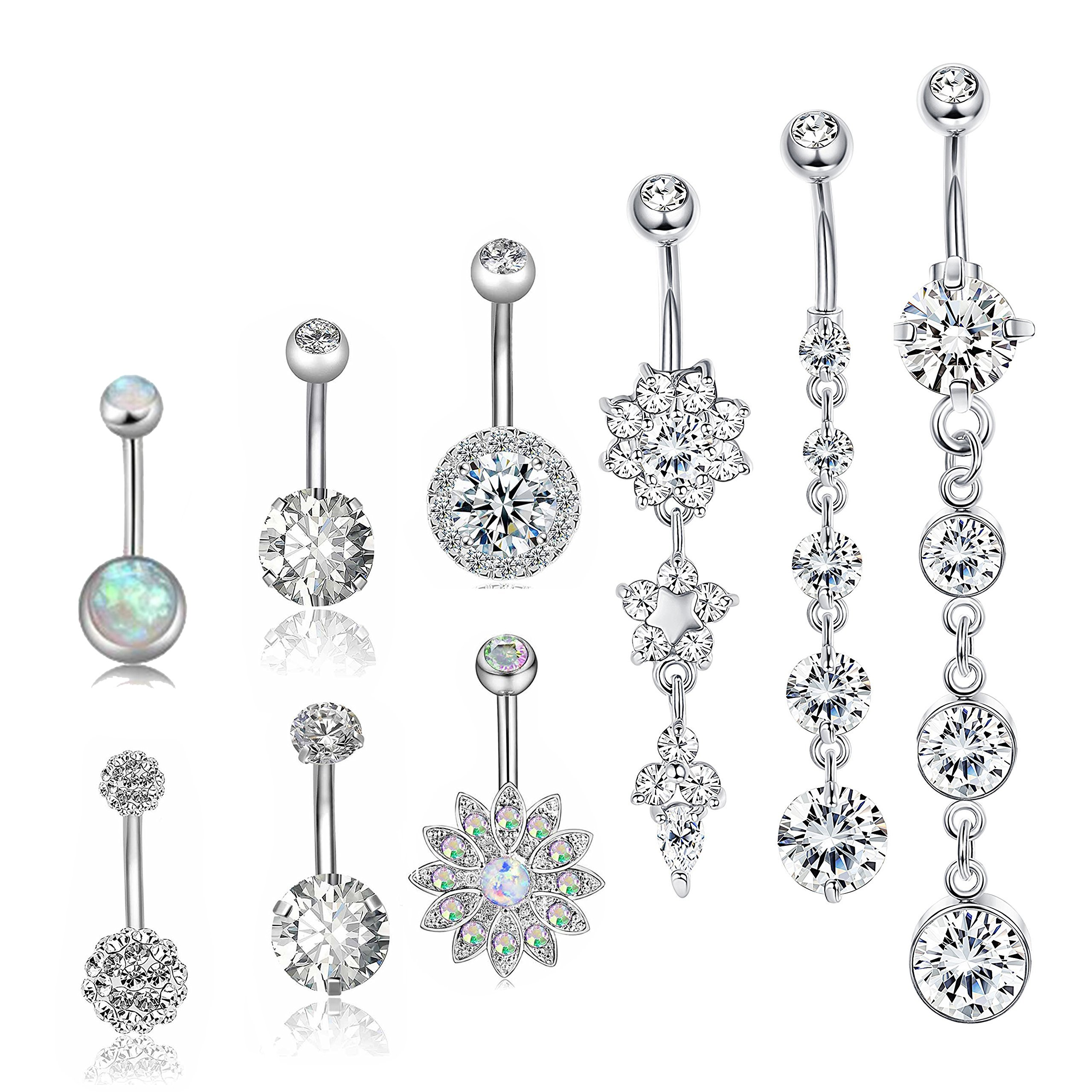 Besteel 9 Pcs 14G Stainless Steel Dangle Belly Button Rings Women Girls Navel Rings CZ Body Piercing Sliver-tone