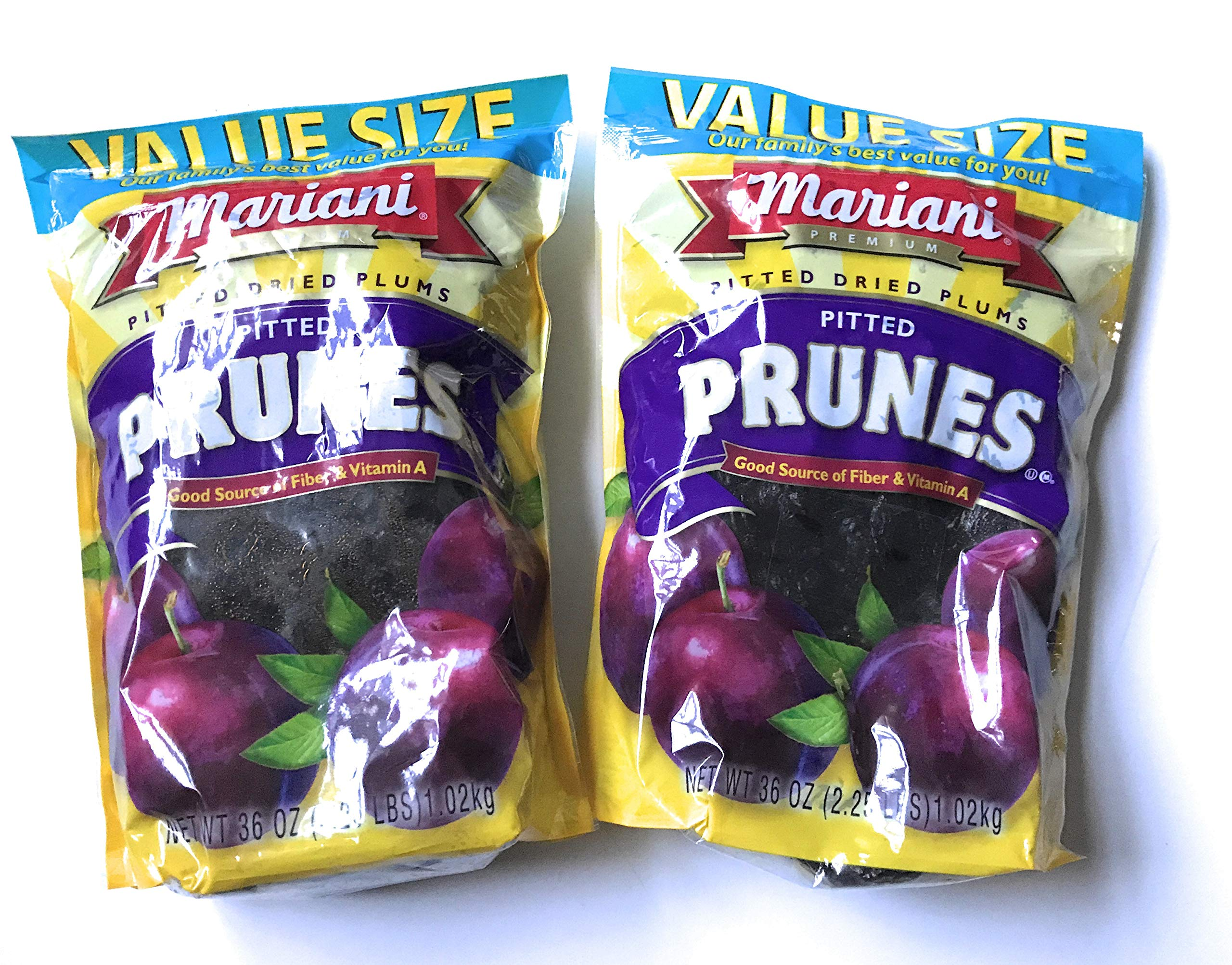 Mariani Pitted Dried Plums Pitted Prunes - TWO 36 oz Value Size Packages PLUS a Delicious Prune Recipe - GREAT VALUE!