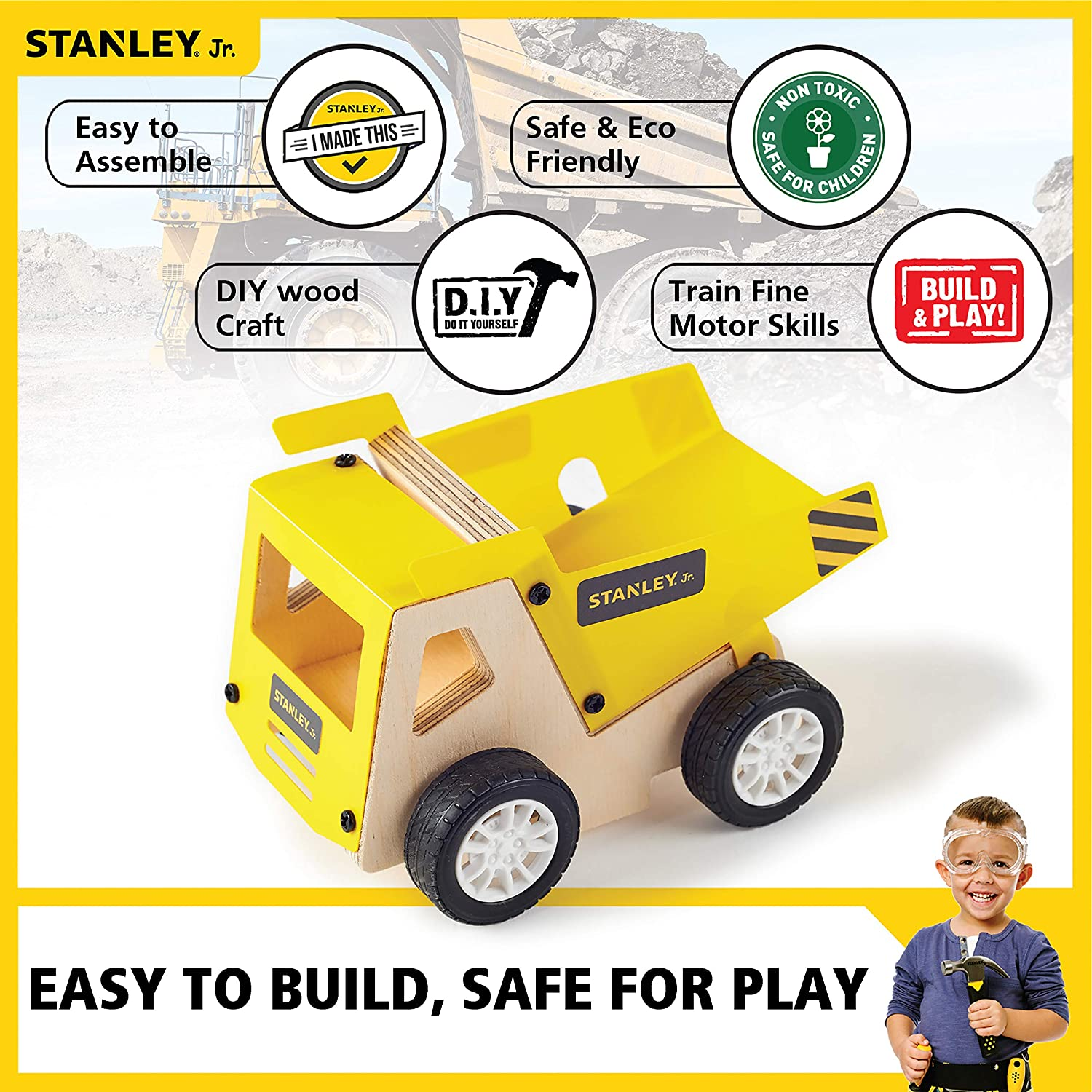 Recycling Garbage Truck Building Kit Craft Vehicle For Kids DIY Toy Stanley Jr