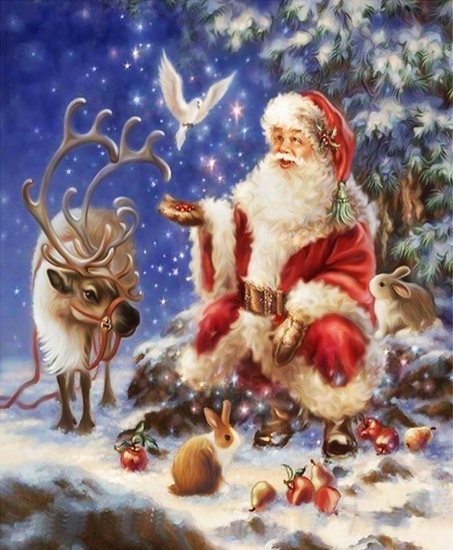 Santa Claus #1 DIY Christmas Gift 5D Diamond Painting DIY Resin Round Diamond Cross Stitch Kits Christmas Decorative Present 16x12 Inch